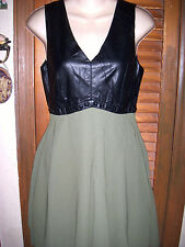 Love Richie~NWT's sz M Black Pleather & olive  sleeveless open back dress