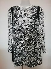 BLUE ILLUSION sz S Black Grey White Floral Tunic Top Buy Any 3=Free Post