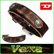 New DIESEL Leather Bracelet Brown Bangle Wristband Mens Womens Surf rock UK BD20