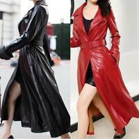 Women's Long Fake Leather Trench Coat Dress Slim Belt Outwear Collar Punk Jacket