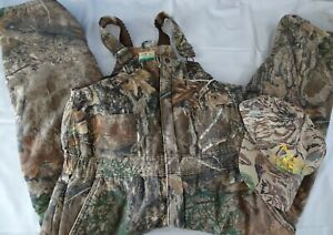 Camo Hunting Cargo Warm Quilted Blue Mountain Overalls Kid's Boy Youth Sz L +CAP