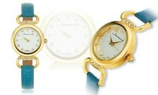 NEW Jeanneret 10041 Womens Florence Quartz Aqua Leather Gold Tone Accented Watch