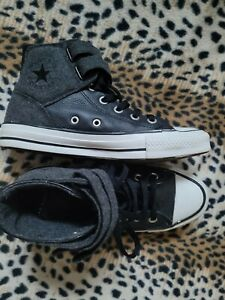 Converse Black Leather and Grey High Top Sneakers Womens Size 7.5 Mens 5.5