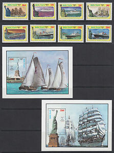 Bhutan Sc 574-583 MNH. 1986 Statue of Liberty Centenary, cplt set, VF. Ships