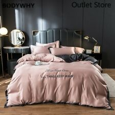 Luxury Satin Silk Bedding Set Embroidery Bed Sheet Cover Sheet Fitted Bed