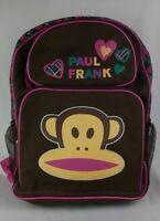 Paul Frank Julius Monkey Backpack 2010 Brown Pink Teal Plaid Knapsack Book Bag