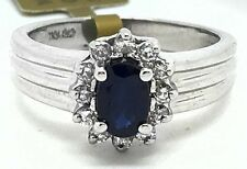 NATURAL 0.73 Cts BLUE SAPPHIRE & 0.30 Cts DIAMONDS RING 10K ** New With tag **