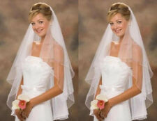 Simple Short White/Ivory Wedding Veil Bridal 2 Layer Veils With Comb
