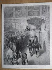 Gravure de presse 1873, Une vente de chevaux à Tattersall, d'après Gustave Doré
