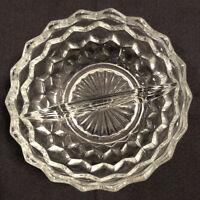"Vintage Fostoria American Cut Divided Glass Relish Dish 5""D x 2.5""T FREE SHIP"