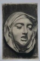 Dibujo de rostro femenino del autor Alberto Duce Vaquero.Pintado al carboncillo.