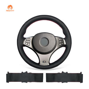 Black Leather Steering Wheel Cover for BMW X3 E83 M Sport 2004-2010