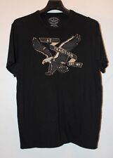 American Eagle Outfitters Embellished Black White Mens S/S T-Shirt Sz Large Used