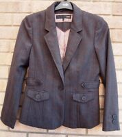 NEXT PETITE BUTTONED TAILORED GREY FORMAL CHECK SUIT BLAZER COAT JACKET 12 M