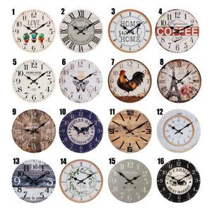 HOMETIME 30cm WALL CLOCK QUARTZ MOVEMENT HOME KITCHEN 16 VINTAGE RUSTIC DESIGNS