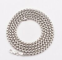 4mm Round Box Chain Necklace Real Sterling Silver Platinum Clad Anti Tarnish 925