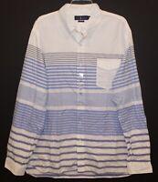 Polo Ralph Lauren Mens White Pocket Blue Striped Button-Front Shirt NWT 2XL XXL