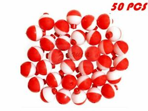 """Qte 50 Pack-1"""" Fishing Bobbers Red & White Snap-On Round Floats New Wholesale@Us"""