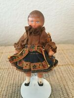 Vintage German ARI Doll House Miniature Rubber Girl Doll Blue Folk Costume Dress