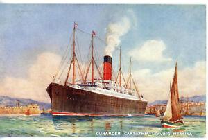 Cunard Line's CARPATHIA of 1902 departing Messina - torpedoed by U-55 in 1918