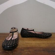 Ruby & Bloom Girls 4 Black Studded Vegan Faux Leather T Strap Mary Jane Flats