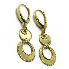 """18K YELLOW GOLD PENDANT EARRINGS DOUBLE WORKED CIRCLE DISC, SHINY, 4cm 1.57"""""""