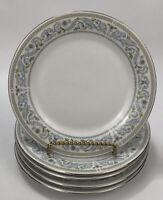"Set 5 Crown Ming China Princess Pattern Blue Floral 7.5"" Dessert Salad Plates AA"