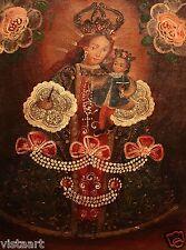 "Cuzco Religious Oil Painting Peruvian Folk Art 11x15"" Madonna & Child with Cross"