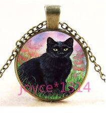 Vintage Black Cat Cabochon bronze Glass Chain Pendant Necklace TS-5826