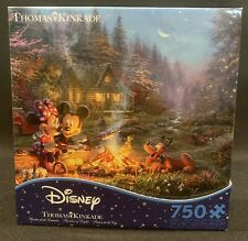 Disney Thomas Kinkade Mickey & Minnie Sweetheart Campfire 750 Piece Puzzle Ceaco