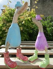 More details for fair trade hand carved made wooden bamboo root garden duck ornament set of 2
