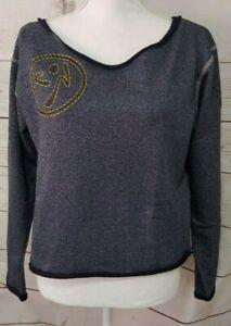 NWT Zumba Wear Women's Suave Sweatshirt Size Medium Heathered Blue