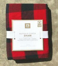 POTTERY BARN TEEN ~ BUFFALO CHECK FLANNEL STANDARD SHAM ~ RED/BLACK ~ 3 AVAIL