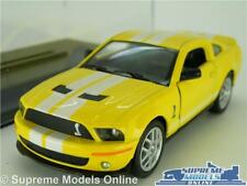 FORD MUSTANG GT500 SHELBY MODEL CAR 1:38 SIZE YELLOW + DISPLAY CASE KINSMART K8