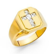 Mens Cross Ring Solid 14k Yellow Gold Band Princess CZ Religious Stylish Fancy