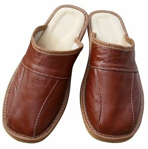 Men's Slippers Leather Slip On Sandals Size 6.5-11 Brown Luxury Mule Scuff Slide