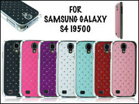 NEW CHROME SIDES PHONE DIAMOND HARD BACK CASE COVER FOR SAMSUNG GALAXY S4 I9500