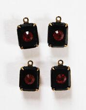 VINTAGE 4 JET BLACK GLASS RUBY RED RHINESTONE OCTAGON PENDANT BEAD • 10x8mm