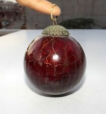 Vintage Red Glass Crack Design Kugel Christmas Ornament Heavy Glass Brass Cap