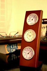 Classical Wooden Desk Table Clock Temperature Humidity - Gift Idea For Him