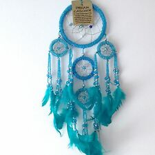 NEW BEADED TURQUOISE BLUE FEATHER DREAM CATCHER NATIVE AMERICAN HANGING MOBILE