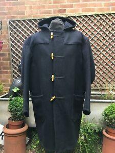 Vintage retro English black hooded wool Duffle coat size men's  XXXL