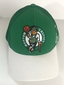 NEW ADIDAS NBA Green & White Boston Celtics Mesh Back Fitted Hat Size S/M