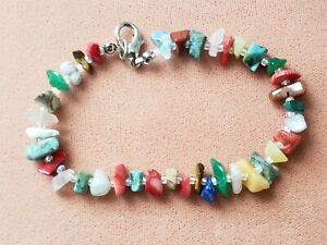 "GENUINE * MULTI-STONE * BRACELET 8"" LONG, 7- 8 mm BEADS, Hand-Made in USA"