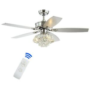 JONATHAN Y Kate 48 in. 3-Light Chrome Glam Crystal Drum LED Ceiling Fan