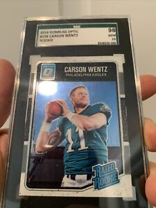 2016 Donruss Optic Purple Prizm #156 Carson Wentz Eagles RC Rookie SGC 10