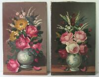 PAIR VINTAGE  STILL LIFE OIL PAINTING OF ROSES  SIGNED