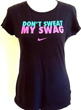 NIKE RN 56323 - DON'T SWEAT MY SWAG Pink Swoosh Graphic T-Shirt Junior's Size: L
