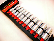 "3/8"" Deep Imperial Socket Set, 11 Pieces, 5/16 - 7/8, With Rail, NEW UK STOCK"