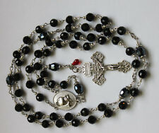 Antiqued Silver or Bronze Black Crystal Praying Hands Rosary,Rosario & free Gift